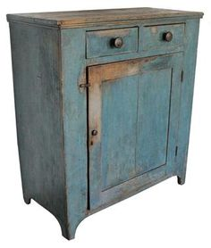 Early 19th century Cupboard with origial dry robin egg blue paint