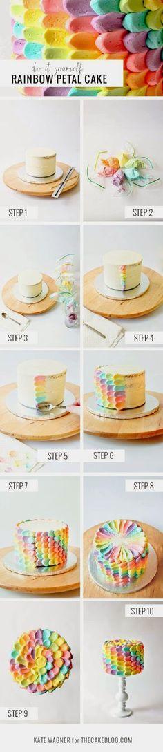Foood Style: Yummy Rainbow Petal Cake idea