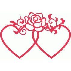 Silhouette Design Store - View Design #80985: double heart frames rose flourish decoration