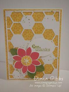 Petal Potpourri, Really Good Greetings, Gorgeous Grunge - SU - Hexagon Hive Thinlits - Stampin' Up! Diana Gibbs