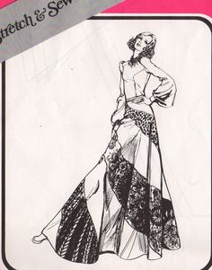 Stretch & Sew 435 1970s Misses Bias Swirl Skirt in sizes small medium and large womens vintage sewing pattern by mbchills