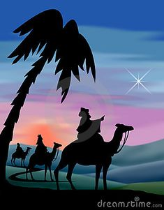 Illustration of the three wisemen following the star to Bethlehem...matching Journey to Bethlehem, Nativity and Shepherds also in my portfolio