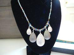 Pendant Necklace Steel Teardrops Necklace by KarsJewellery on Etsy