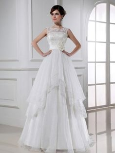 A-line Scoop Neck Sleeveless Sweep/Brush Train Organza Wedding Gown with Hand-Made Flower