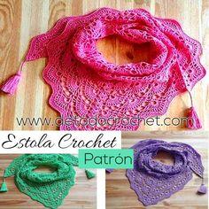 Estola tejida a crochet con forma triangular