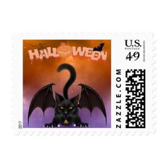 Halloween Cat Bat Postage Stamp - black gifts unique cool diy customize personalize
