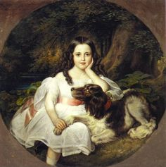 Friedrich August Von Kaulbach | A Young Girl Resting In A Landscape With Her Dog