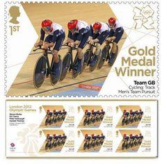Gold Medal Winner stamp- Steven Burke, Ed Clancy, Peter Kennaugh, Geraint Thomas, Cycling, Men's Team Pursuit