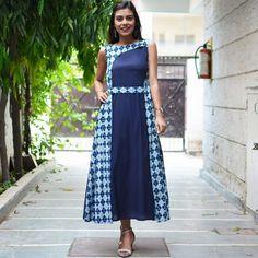 Navy Blue & Indigo Dabu Asymmetric Panelled Dress with Belt Detail & Pockets - Rustorange Indian Designer Outfits, Designer Dresses, Churidar Designs, Kurti Designs Party Wear, Indian Dresses, Dress Patterns, Blouse Designs, Indian Fashion, Casual Dresses