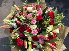by Rodgers The Florist, Manchester. Flowers Uk, Luxury Flowers, 100 Red Roses, Red Rose Arrangements, Celebration Balloons, Rose Lily, Beautiful Red Roses, Hand Tied Bouquet, Luxury Candles