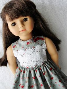 Gray Lace Bodice Dress with Red Bow - (45) Dresses - Doll Clothes by Jane Fulton