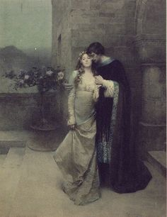 """Couple Embracing - W.L. Taylor, illustrator  Published in: """"The Golden Legend"""" by Henry W. Longfellow, Ladies Home Journal, October 1904."""