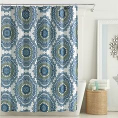 Anthology Bungalow 72-Inch x 96-Inch Shower Curtain in Teal from Bed Bath & Beyond