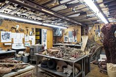 Ms. Oka Doner's workroom, pictured here, is piled with branches collected in the countryside.
