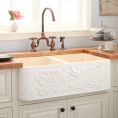 "33"" Ivy Double-Bowl Polished Marble Farmhouse Sink - Cream Egyptian"