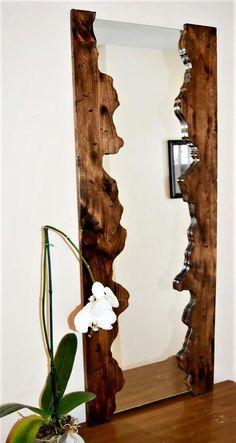 Wooden mirror Wooden mirror frame Rustic mirror by JuniperWoodshop - holzspiegel holzspi .Wooden mirror Wooden mirror frame Rustic mirror by simple DIY mirror frame ideas you can do nowPlayful DIY Wood Slice mirror frame Wood Framed Mirror, Rustic Mirrors, Home Decor Mirrors, Diy Mirror, Decorative Mirrors, Wall Mirror Ideas, Mirror Decorations, Mirror Makeover, Best Mirror