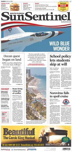 #20160508 #USA #FLORIDA #SouthFlorida #FortLauderdale Sunday MAY 08 2016 #SunSentinel20160508 http://www.newseum.org/todaysfrontpages/?tfp_show=80&tfp_page=2&tfp_id=FL_SS