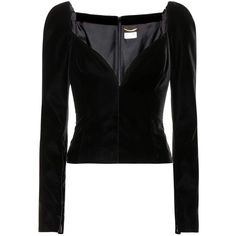 Saint Laurent Velvet Top ($2,670) ❤ liked on Polyvore featuring tops, shirts, long sleeved, black, blouses, yves saint laurent, velvet top, long sleeve shirts, long sleeve tops and velvet long sleeve shirt