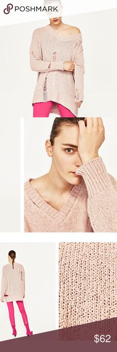🆕BLUSH DISTRESSED OVERSIZED SWEATER DESCRIPTION IN PHOTOS. BEAUTIFUL DISTRESSED OVERSIZED SWEATER. OBSESSED OFF THE SHOULDER. I OPEN AND INSPECT EVERY ITEM. I TAKE SEVERAL PHOTOS. NO TRADES PLEASE. Zara Sweaters V-Necks