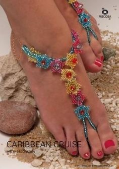 Gorgeous Beaded Sandals Tutorial for Your Cruise Vacation. (or just use the flower components for other pieces) - The Beading Gem's Journal #Seed #Bead #Tutorials by leona