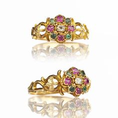 -1840s Early Victorian 15k Gold Spinel Tourmaline Diamond Ring