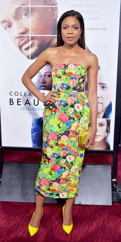 Naomie Harris defined Collateral Beauty for its world premiere, arriving on the red carpet in a stunning spring-happy floral Rosie Assoulin design—structured in silhouette with crisp lines and a slight flare at the waist.