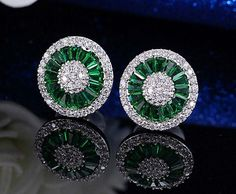 1.5 Ct Simulated Emerald & Zirconia  white gold filled Earrings | eBay