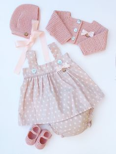 Baby Clothing Set: Dress Bloomers Bolero Bonnet And Booties