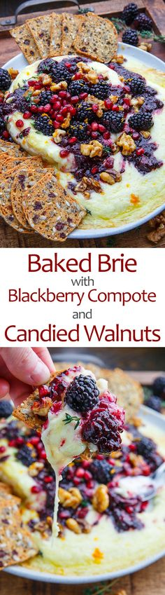 Baked Brie with Blackberry Compote and Candied Walnuts jalapeno recipes; No Cook Appetizers, Appetizer Dishes, Food Dishes, Appetizer Recipes, Snack Recipes, Cooking Recipes, Delicious Appetizers, Mexican Appetizers, Halloween Appetizers
