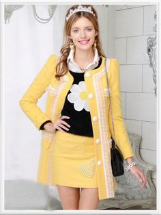 Morpheus Boutique  - Yellow Lace Button Down Wool Long Sleeve Lovely Coat, CA$174.34 (http://www.morpheusboutique.com/yellow-lace-button-down-wool-long-sleeve-lovely-coat/)