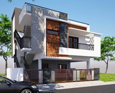 Front elevation modern houses by klass designers and contractors modern Classic House Exterior, Modern Exterior House Designs, Latest House Designs, Modern House Design, Exterior Design, Modern Brick House, Modern House Facades, Modern Architecture House, Architecture Interiors