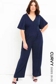 Final Sale Plus Size Jumpsuit with Ruffled Cap Sleeves in Royal Blue