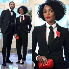 #CoverGirl vocalist #JanelleMonae with 'Classic Man' #Jidenna! Y'all like their suits?