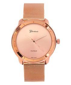 Loving this Rose Goldtone Mesh Bracelet Watch on #zulily! #zulilyfinds