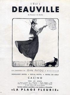 Jean Patou 1948 Deauville Casino, Teckel Dog, René Gruau