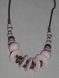 Unique Pink Beads and Leather Cord Choker with Clasp Free Shipping