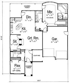 Southern Style House Plan - 2 Beds 2 Baths 1685 Sq/Ft Plan #312-662 Floor Plan - Main Floor Plan - Houseplans.com