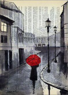 Drucken Sie Leinwand Tusche Zeichnung Poster beste Geschenk Zeichnung Dketch Stadt Malerei Illustration Mädchen Regenschirm Stadtansicht signiert Emanuel Ologeanu