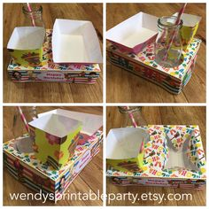 Luau/Hawaiian Themed Party Food Lunch Box with Hotdog Tray & Popcorn Box (Printable by you /DIY) - Dimensions/product details in description by WendysPrintableParty on Etsy