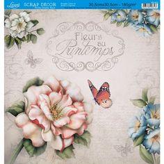Página para Scrapbook Dupla Face Litoarte 30,5 x 30,5 cm - Modelo SD-425 Várias Flores/Flores Padrão - CasaDaArte