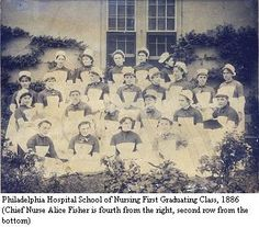 Philadelphia Hospital School of Nursing First Graduating Class, 1886. (Chief Nurse Alice Fisher is fourth from the right, second row from the bottom). Image courtesy of the Barbara Bates Center for the Study of the History of Nursing, from the Nursing, History and Healthcare website.