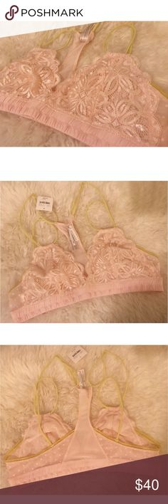 Delicate Lace Bralette Gorgeous lace + polka bralette!  Light pink with yellow accents.  Purchased at Anthropologie.  Size Small.  Brand: floreat - loved by anthropologie NWT Bundle with matching bottoms :) Anthropologie Intimates & Sleepwear Bras