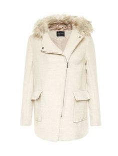 Stone Faux Fur Trim Hooded Biker Duffle Coat  | New Look