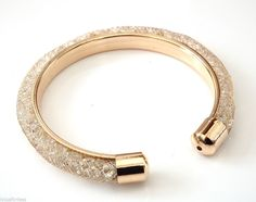 Gold Tone Mesh Tube Torque Bangle Bracelet with Crystals