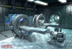 인테리어_의무실 Sci-Fi Interior by Veejay Zaballa, via Behance Spaceship Interior, Futuristic Interior, Spaceship Design, Sci Fi Background, Sci Fi Spaceships, Sci Fi Ships, Modelos 3d, Futuristic Technology, Environment Concept Art