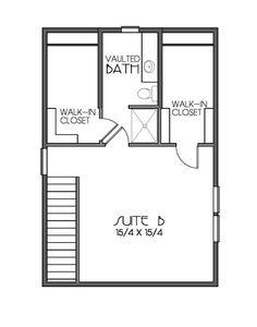 Craftsman Style House Plan - 2 Beds 2 Baths 1356 Sq/Ft Plan #423-51 Floor Plan - Upper Floor Plan - Houseplans.com