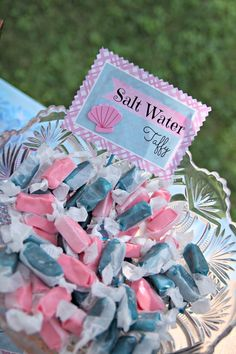 Mermaid Birthday Party Food ... How about some salt water taffy to go with the 'sea' theme?