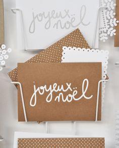 Joyeux noël - Ouistiti Carte de vœux en kraft sérigraphié a la main en france