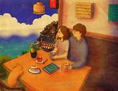 ♥  THE SEA ~ A cold drink and you… that's all we need while we watch the sea together  ♥  by Puuung at www.grafolio.com/works/189047  ♥