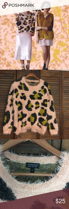 NWOT TOPSHOP Leopard Print Fuzzy Sweater NWOT. Never worn. Long sleeve. Medium/8 sweater. *** photo of model found on Google 🔥 Topshop Sweaters Crew & Scoop Necks